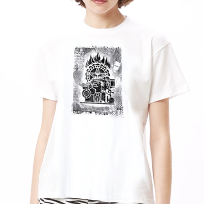 OBEY Girl Shirt PRESS ETCHING white