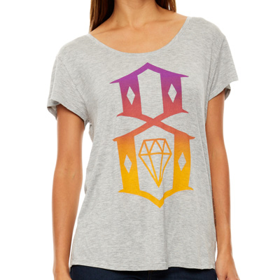 REBEL8 Girl Shirt 8-LOGO BOYFRIEND TEE heather grey/multi