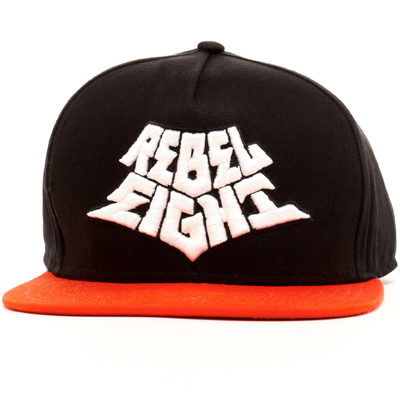 REBEL8 Snap Back Cap GHETTO PASS black/orange