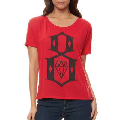 REBEL8 Girl Shirt 8-LOGO BOYFRIEND TEE red/black