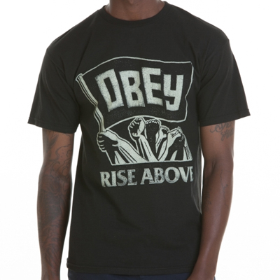 OBEY T-Shirt RISE ABOVE FLAG black