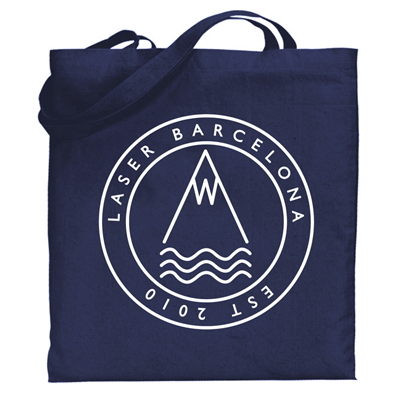 LASER Tote Bag OG LOGO navy/white