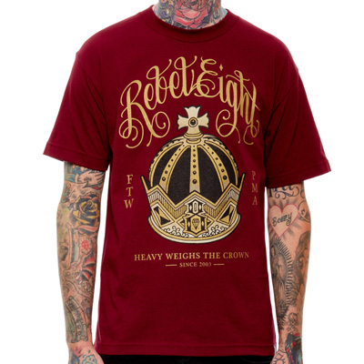 REBEL8 T-Shirt RULERS burgundy/gold