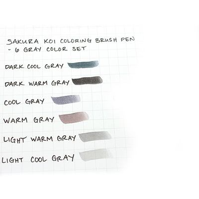 Sakura - SAKURA KOI Coloring Brush Pens 6er Set grey Layup Online ...