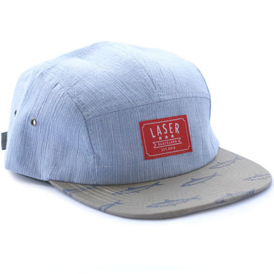LASER 5Panel Cap SARDINAS light blue/khaki