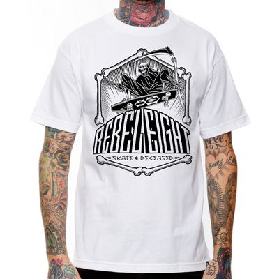 REBEL8 T-Shirt SKATE AND DECEASED white