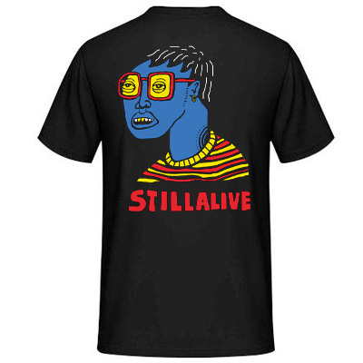 STILL ALIVE T-Shirt Wearing Sunglasses at Night black