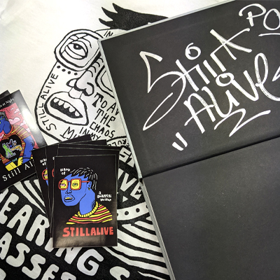 STILL ALIVE Book (signed), T-Shirt (white) & Sticker Pack