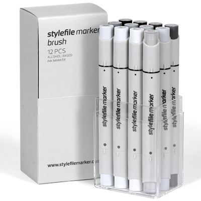 STYLEFILE Marker BRUSH 12er Set Neutral Grey