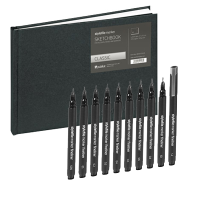 STYLEFILE Marker FINELINER 10er Set & SKETCHBOOK A5 quer Package