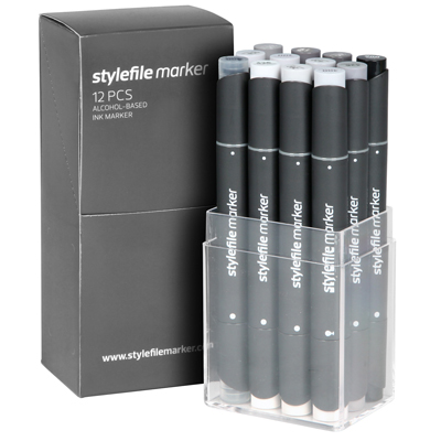 STYLEFILE Marker Set of 12 Neutral Grey
