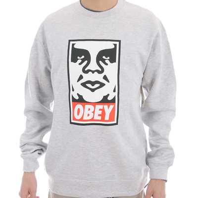 OBEY Sweater ICON FACE LOGO heather grey