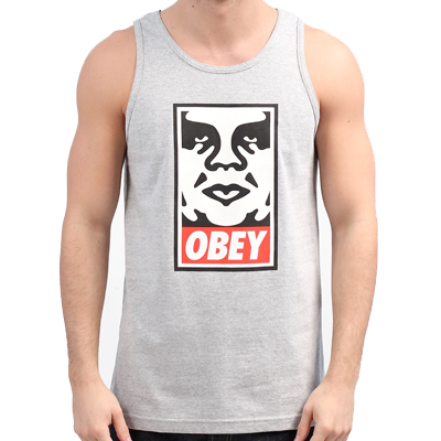 OBEY Tank Top ICON FACE heather grey