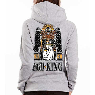 EGOKING Girl Hooded Zipper TAROT heather grey