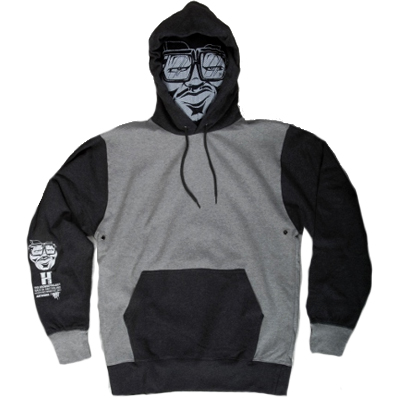 TH3 Face Mask Hoody MUGSY light grey/dark grey