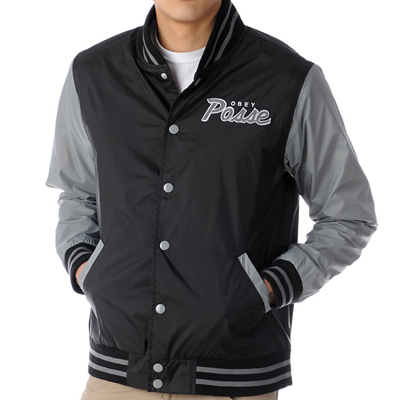 OBEY Baseball Jacke THROWBACK black