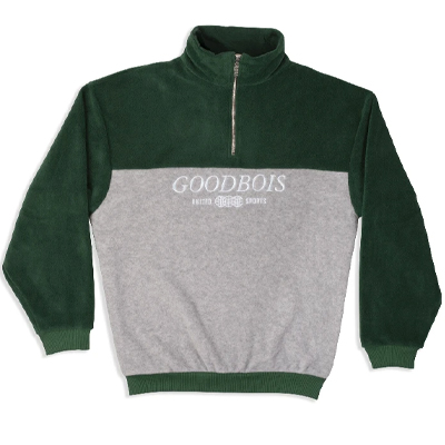 GOODBOIS Half-Zip Fleece TM BLOCK grey/green