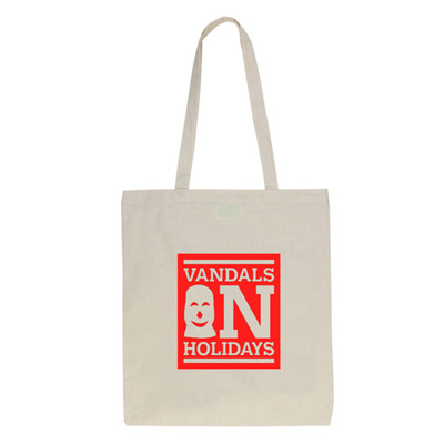 VANDALS ON HOLIDAYS Tote Bag BOX LOGO natural/red