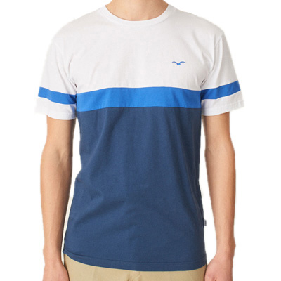 CLEPTOMANICX T-Shirt DECK STRIPE white/blue/navy