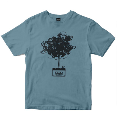 DEPHECT T-Shirt CASSETTE TREE dusty blue
