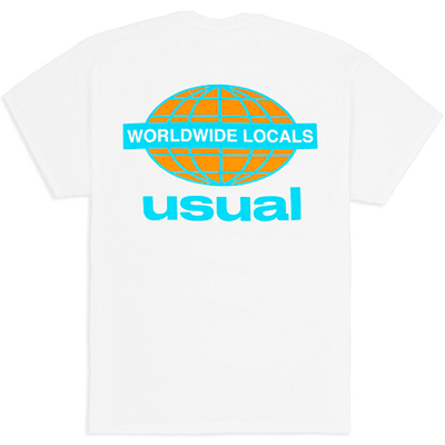 USUAL T-Shirt WORLDWIDE LOCALS white/blue