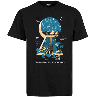 UNDERPRESSURE T-Shirt GET OUT black/turquoise