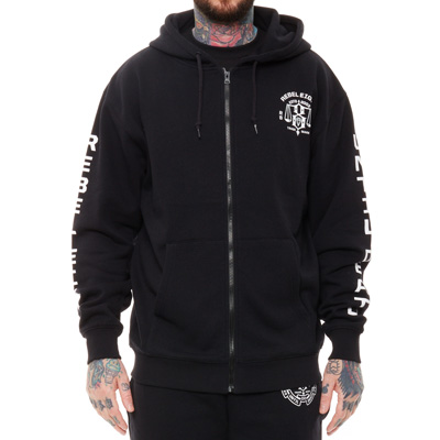 REBEL8 Hooded Zipper UNTIL DEATH black