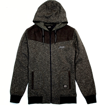 WRUNG Hooded Zipper ARROW heather black