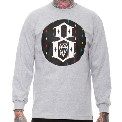 REBEL8 Longsleeve T-Shirt WATCH YOUR STEP heather grey/black