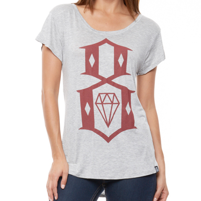 REBEL8 Girl Shirt 8-LOGO BOYFRIEND TEE heather grey/burgundy