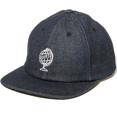 THE QUIET LIFE Polo Hat WORLD GLOBE black denim