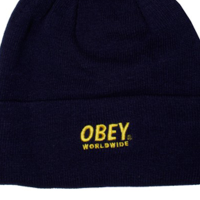 5405c19ef OBEY Beanie WORLDWIDE POM POM navy/yellow