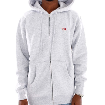 OBEY Hooded Zipper BAR LOGO heather grey